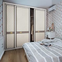 Customised Wood Wardrobes with Leather Sliding Door