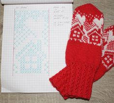 Knitted Mittens Pattern, Knit Mittens, Knitting Socks, Knit Socks, Knitting Charts, Knitting Stitches, Free Knitting, Fair Isle Pattern, Christmas Knitting
