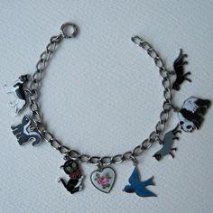 Vintage Sterling Charm Bracelet Flat Enamels