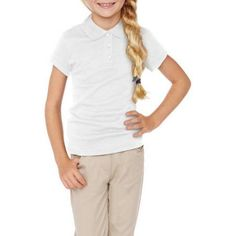 George Girls' School Uniforms Short Sleeve Polo Shirt, Girl's, Size: 2XL (18), White