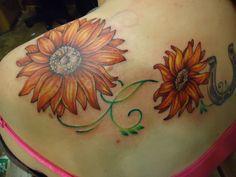sunflower tattoo   red sunflowers 35 Tremendous Sunflower Tattoo Designs