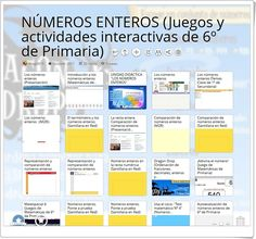 """""""20 juegos y actividades interactivas para el estudio de LOS NÚMEROS ENTEROS en 6º de Primaria"""" Morning Routines, School, Pencil, Interactive Activities, Maths Area"""