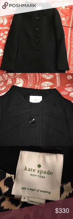 Kate Spade New York Etta Wool Coat Black, size 0 Kate Spade New York Etta Wool Coat   Color: Black Size: 0  Condition: Brand New without tag Material: 100% Wool, Lining 100% polyester. Two side pockets with leopard print lining.  2 snap buttons at collar   Please see pictures for details.  Thanks kate spade Jackets & Coats