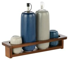 """Contemporary and elegantly refined this condiment set from Hotel Collection is the visual representation of the words """"serve with style"""". 3 Tier Cake Stand, Leather Tray, Salt And Pepper Grinders, Condiment Sets, Breakfast Tray, Plastic Trays, Butter Dish, Porcelain, Porcelain Ceramics"""