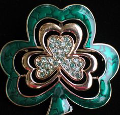 NIB NAPIER ST PATRICKS DAY LEPRECHAUN SHAMROCK FLOWER CLOVER PIN BROOCH JEWELRY  #NAPIER