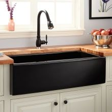 Buy the Signature Hardware 420795 Black Direct. Shop for the Signature Hardware 420795 Black Dorhester Single Basin Fireclay Reversible Farmhouse Sink with Smooth Apron and save. Kitchen Sink Design, Rustic Kitchen Design, Home Decor Kitchen, New Kitchen, Kitchen Ideas, Kitchen Designs, Stone Kitchen, Decorating Kitchen, Natural Kitchen