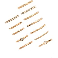 Forever 21 Rhinestone Ring Set ($6.90) ❤ liked on Polyvore featuring jewelry, rings, set rings, channel-set band ring, band rings, rhinestone rings and forever 21 jewelry