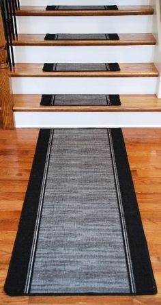Need to check reviews on these.    Washable Non-Skid Carpet Stair Treads - Boxer Grey (13) PLUS a Matching 5' Runner  Price : $164.99 http://www.deanstairtreads.com/Washable-Non-Skid-Carpet-Stair-Treads/dp/B004SUO7LG