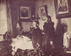 Victorian death room photographs. The invention of the daguerreotype (photographic process) in 1839 meant that the the middle class could mark the death of a loved one as a permanent reminder. Initially, the dead body was often shown in repose - either on a chair or a bed. As the form developed, the cadaver was pictured with members of its own family or friends and, sometimes, it was placed in a childhood scene with siblings gathered around it.