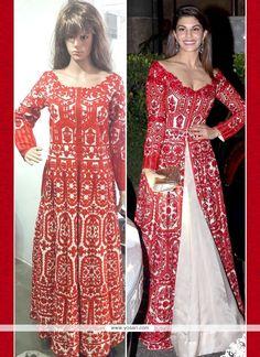 Fetching Resham Work Red Bhagalpuri Silk Anarkali Salwar Suit Model: YOS7290