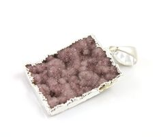 Dazzling Druzy Rectangle Pendant in Earth Tones, Single Bail Silver Electroplated Edge, 21x30mm, A+ Gorgeous Quality,  (SS-DZY/PDT/214) by Beadspoint on Etsy