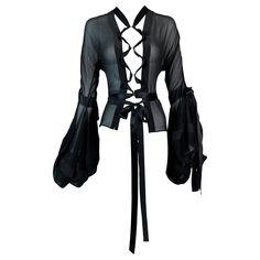 Tokyo Fashion, Grunge Fashion, Tom Ford Shirts, Black Silk Blouse, Black Dress Outfits, Laced Up Shirt, Off Shoulder Fashion, Black Sheer Top, Summer Fashion Outfits