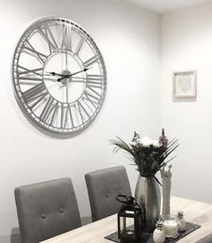 Extra-Large-80cm-Silver-Metal-Roman-Numeral-Wall-Clock-Shabby-Chic-Skeleton