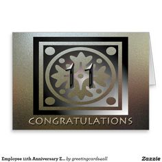 Employee 11th Anniversary Elegant Golden Greeting Card