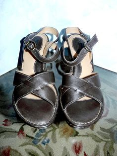 46bde6a062cf BORN DARK BROWN LEATHER STRAPPY SLING BACK WEDGE HEEL SANDALS - Size 8 M W  39 EU  fashion  clothing  shoes  accessories  mensshoes  sandals (ebay link)