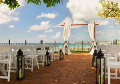 Hilton Barbados - Charles Fort Ocean Deck Wedding Set Up