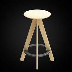 Tom Dixon Slab Bar Stool Natural - 3D furniture model - Use PROMO CODE: pin3d and get 20% off  - $8.00