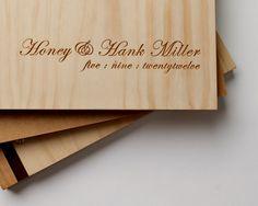 personalised wedding guest book or album // custom engraving // wood // romantic bohemian wedding. $90.00, via Etsy.