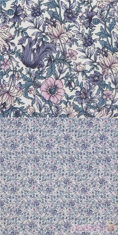 """off-white cotton lawn fabric with flowers in light purple, dark blue etc., Material: 100% cotton, Fabric Type: lightweight cotton lawn fabric, Fabric Width: 110cm (43"""") #Lawn #Flower #Leaf #Plants #USAFabrics"""