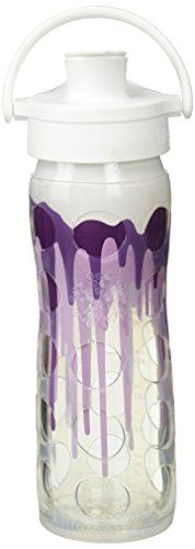 Lifefactory BPAFree Glass Water Bottle with Active Flip Cap  Silicone Sleeve 16 oz White Splash * Check out the image by visiting the link.Note:It is affiliate link to Amazon.