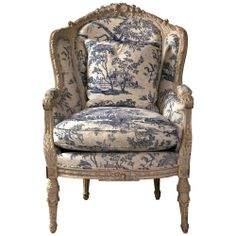 19th Century Antique French Wingback Bergere Chair with toile upholstery