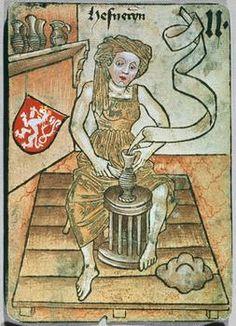"Playing card showing a potter at the wheel; Hafnerin [potter?] Böhmen [Bohemia], ""Hofämterspiel"" for King Ladislas ""Posthumus"", c. 1455"