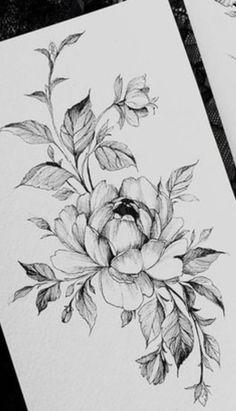25 Beautiful Flower Drawing Information & Ideas Peony Flower Tattoos, Flower Tattoo Designs, Rose Tattoos, New Tattoos, Girl Tattoos, Lotusblume Tattoo, Flor Tattoo, Tattoo Sketches, Tattoo Drawings