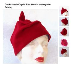 Schiaparelli-inspired Cockscomb Cap in red wool.  Brief measurements & instructions given at source link.  |  Glorious Hats: Make a Hat Day