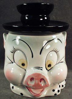 Vintage Happy Pig Face Cookie Jar - Japan @Ruby Lane Vintage
