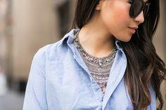 Casual Lace :: Chambray shirt & Sheer skirt (via Bloglovin.com )