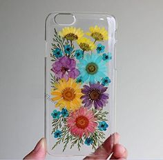 Rebbygena Pressed Flower Phone Cover,dried Real Flower Phone Case for Iphone 6
