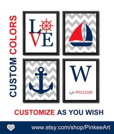 chevron nautical baby gifts nautical baby boy nursery chevron sail boat nautical love steering wheel personalized kids decor sailor nursery by PinkeeArt, $29.00