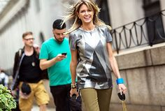 Try pairing metallics with olive green // Photo: The Styleograph #NYFW #streetstyle