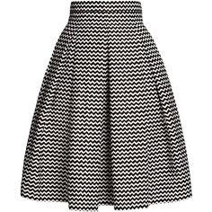 Rumour London - Ravello Chevron Midi Skirt (¥17,550) ❤ liked on Polyvore featuring skirts, cotton skirts, knee length pleated skirt, calf length skirts, cotton pleated skirt and fitted midi skirt