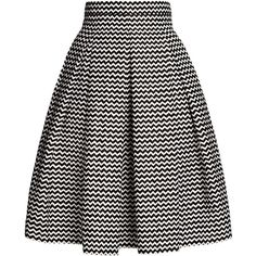 Rumour London - Ravello Chevron Midi Skirt (680 RON) ❤ liked on Polyvore featuring skirts, fitted skirts, calf length skirts, chevron print skirt, cotton pleated skirt and cotton skirts