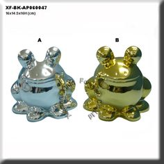 electroplated ceramic frog coin bank