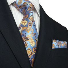 Landisun 81K Blue Yellow Brown Paisley Men Silk Tie Set