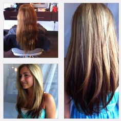 Before and after long layers.  Blonde highlights red underneath.  www.locksoflori.com