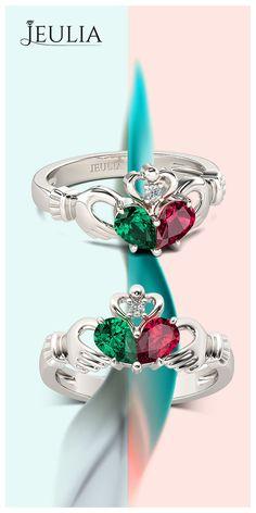 Two-stone Pear Cut Heart Shape Women's ring #Jeulia