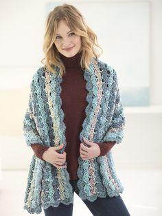 Crochet Kit - Serene Shells Shawl - Lion Brand Yarn