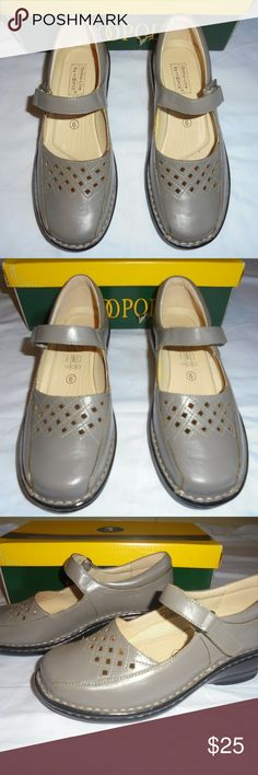 New Women's HOOPOE Leather Grey Shoes SZ 6 Ortho New in Box Women's HOOPOE Leather Grey Shoes Size 6, Width (2E) Ortho-Line. See other items for more designer and vintage clothing. Thank you. HOOPOE Shoes
