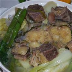 This is another one-meal-in-a-pot dish. It contains soup, meat, and vegetables all cooked together in one delicious broth. Terrific during cooler weather.