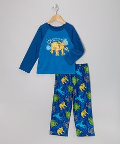 Take a look at this Blue Dino Pajama Set - Toddler & Girls on zulily today!