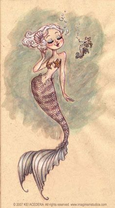Illustrations Little Sea Horse and Mermaid Fantasy Creatures, Mythical Creatures, Sea Creatures, Mermaid Fairy, Mermaid Tale, Illustrations, Illustration Art, Mermaid Drawings, Mermaid Sketch