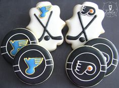 Hockey Cookies~           One Dozen 12 Customizable Hockey Themed Decorated,  by DolceDesserts, Black