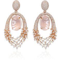 Hueb 18K Rose Gold Diamond Luminous Earrings (268.280 NOK) ❤ liked on Polyvore featuring jewelry, earrings, pink, rose gold druzy earrings, fine jewelry, diamond fine jewelry, sparkly earrings and rose gold jewelry