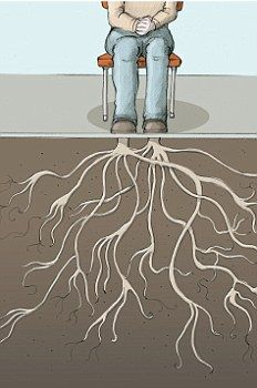 Each time you breathe, think of your feet growing roots into the floor. This thought anchors you and keeps you grounded.