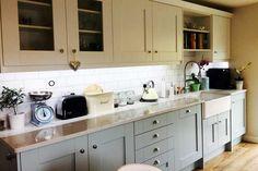 An Innova Malton Painted Cornflower Blue Shaker Kitchen Cottage Kitchens, Diy Kitchens, Country Kitchens, Kitchen Units, Kitchen Cabinets, Kitchen Decor, Kitchen Design, Kitchen Ideas, Blue Shaker Kitchen