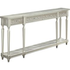 Draw the eye to an elegant bouquet or seasonal vignette with this sophisticated console table, showcasing textural quatrefoil details and a silver leaf fi...