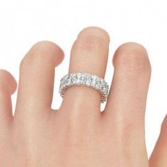 Jeulia Round and Radiant Cut Created White Sapphire Women's Wedding Band